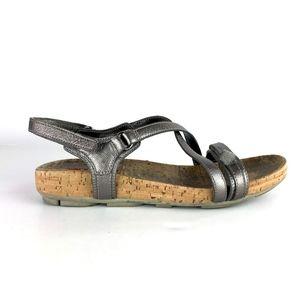 Prada Sport Leather Silver Sandals